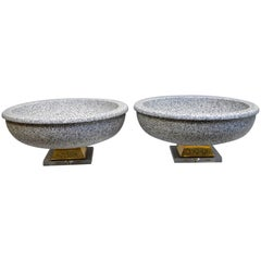Pair of Italian Mangani Ceramic Pedestal Bowls