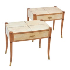 Pair of Italian Maple and Vellum Bedside Tables in the Style of Borsani