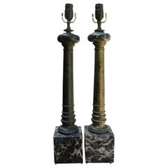 Pair of Italian Marble and Tole Column Lamps
