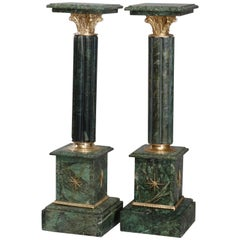Pair of Italian Marble Cluster Column Sculpture Display Pedestals, 20th Century