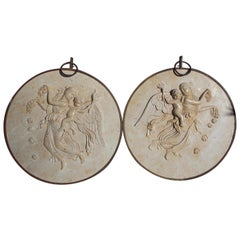 Pair of Italian Marble Shields with Allegorical Figures and Iron Mounts, C. 1840