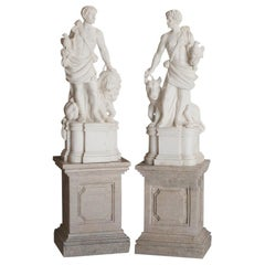Pair of Italian Marble Statues of Hunters