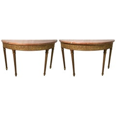 Pair of Italian Marble-Top Giltwood Console Tables, circa Midcentury