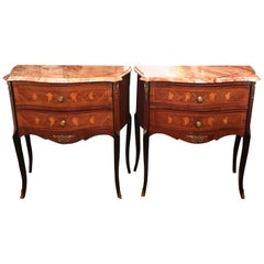 Pair of Italian Marble-Top Inlay Side Tables