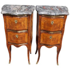 Pair of Italian Marble Top Parquetry Inlaid Serpentine Commodes, Circa 1790
