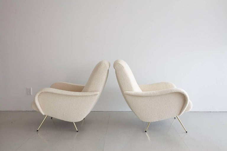 Pair of Italian Marco Zanuso Style Lounge Chairs in Wool Bouclé For Sale 5