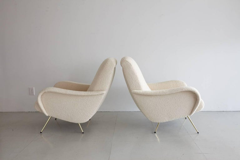 Pair of Italian Marco Zanuso Style Lounge Chairs in Wool Bouclé For Sale 6