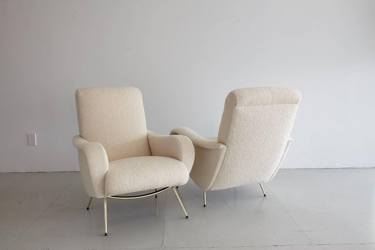 Pair of Italian Marco Zanuso Style Lounge Chairs in Wool Bouclé For Sale 7