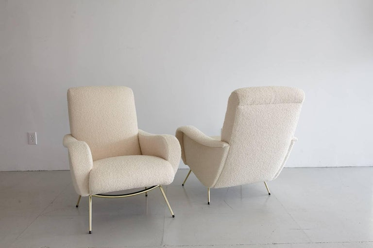 Pair of Italian Marco Zanuso Style Lounge Chairs in Wool Bouclé For Sale 8