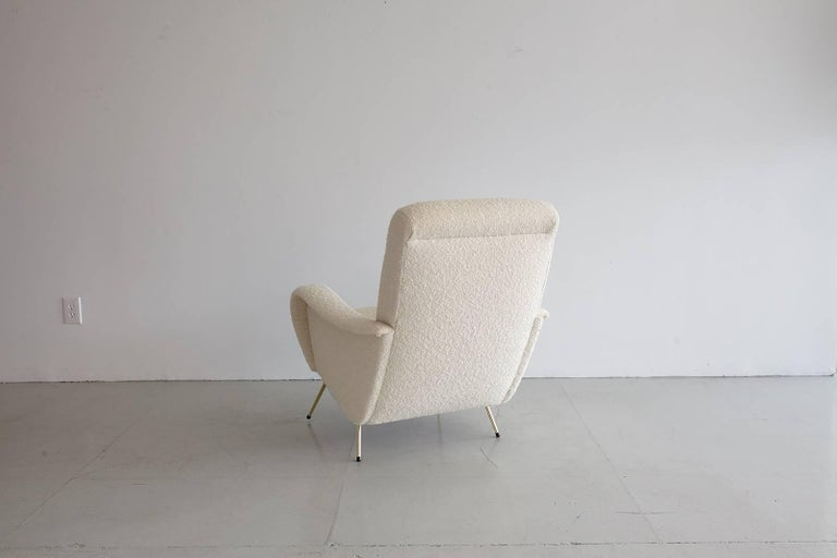 Pair of Italian Marco Zanuso Style Lounge Chairs in Wool Bouclé In Good Condition For Sale In Los Angeles, CA