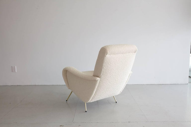 Mid-20th Century Pair of Italian Marco Zanuso Style Lounge Chairs in Wool Bouclé For Sale