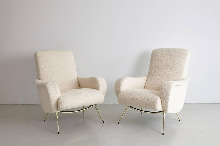 Pair of Italian Marco Zanuso Style Lounge Chairs in Wool Bouclé For Sale 4