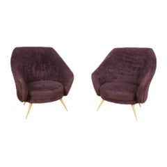 Pair of Italian Marco Zanuso Style Armchairs, circa 1950