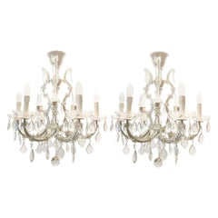 Pair of Italian Maria Theresa Six-Light Chandeliers