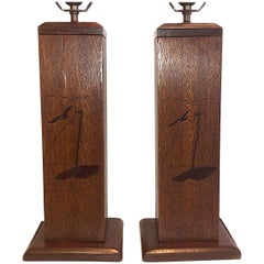 Pair of Italian Marquetry Nautical Lamps