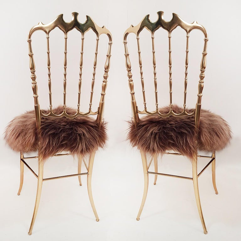 Pair of Italian Massive Brass Chairs by Chiavari, Upholstery Iceland Wol In Excellent Condition For Sale In Rijssen, NL