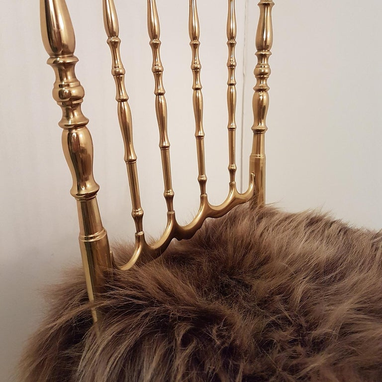 Wool Pair of Italian Massive Brass Chairs by Chiavari, Upholstery Iceland Wol For Sale