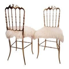 Pair of Italian Massive Brass Chairs by Chiavari, Upholstery Iceland Wol