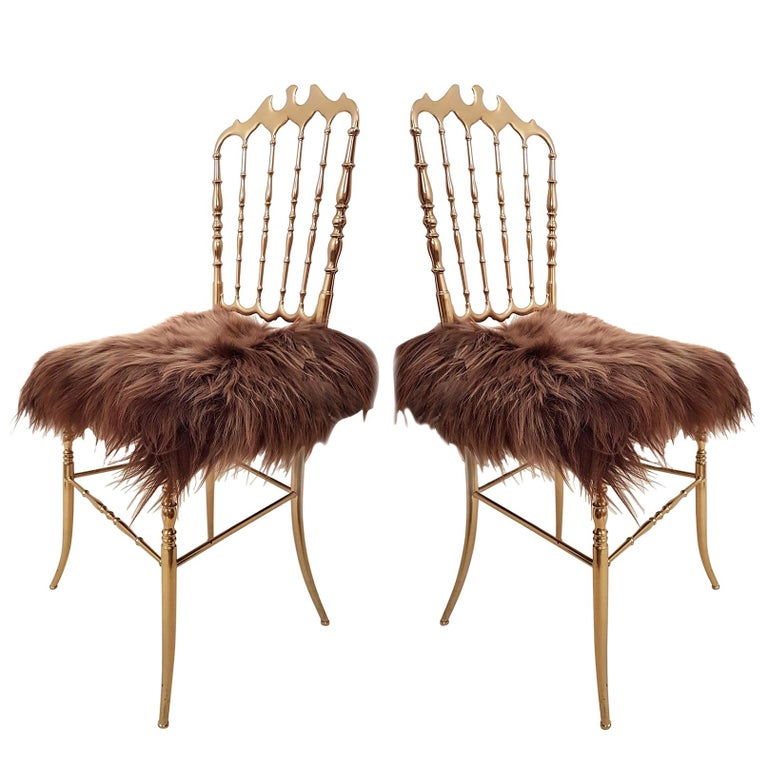 Pair of Italian Massive Brass Chairs by Chiavari, Upholstery Iceland Wol For Sale