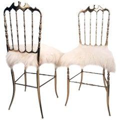 Pair of Italian Massive Brass Chairs by Chiavari, Upholstery Iceland Wool