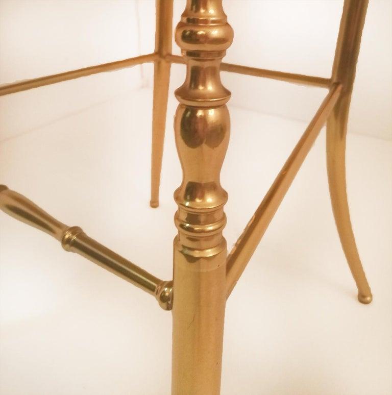 Mid-Century Modern Pair of Italian Massive Brass Chairs by Chiavari, Upholstery Pink Velvet For Sale