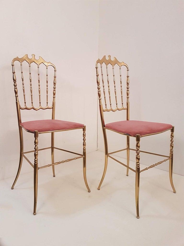 Pair of Italian Massive Brass Chairs by Chiavari, Upholstery Pink Velvet For Sale 3