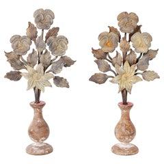 Pair of Italian Metal and Wood Floral Garnitures