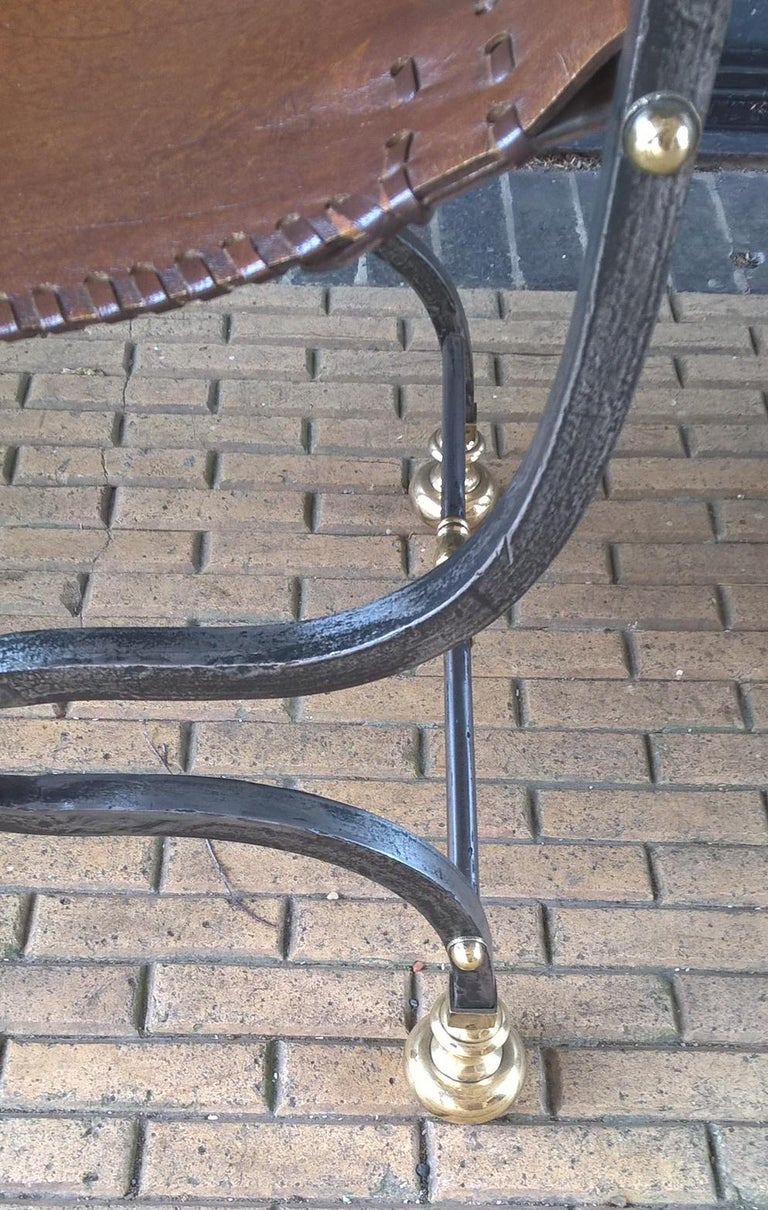 Pair of Italian Metal, Brass and Leather Armchairs For Sale 5