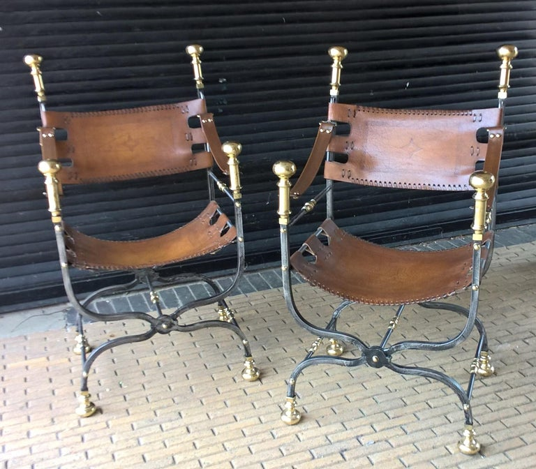 Pair of Italian Metal, Brass and Leather Armchairs For Sale 6