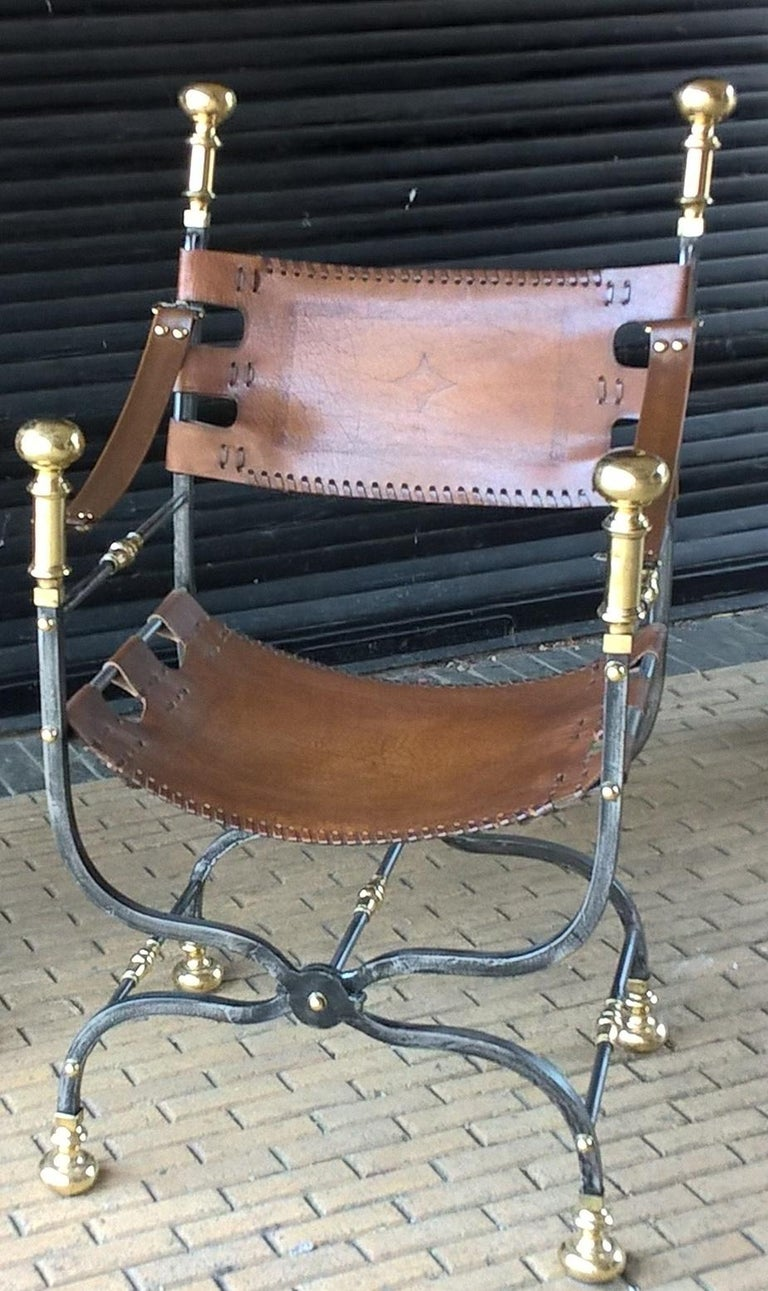 Pair of Italian Metal, Brass and Leather Armchairs For Sale 7