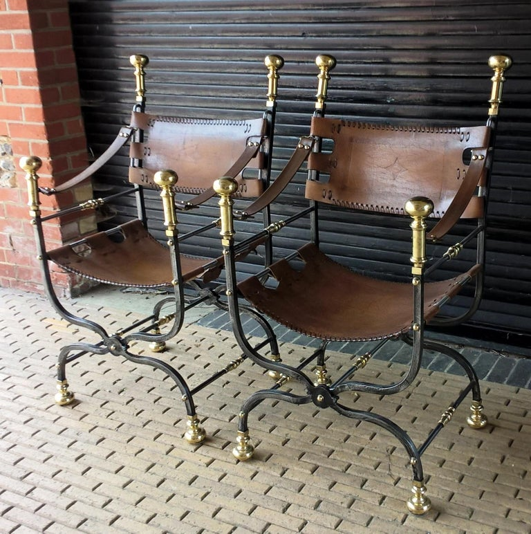 Renaissance Pair of Italian Metal, Brass and Leather Armchairs For Sale