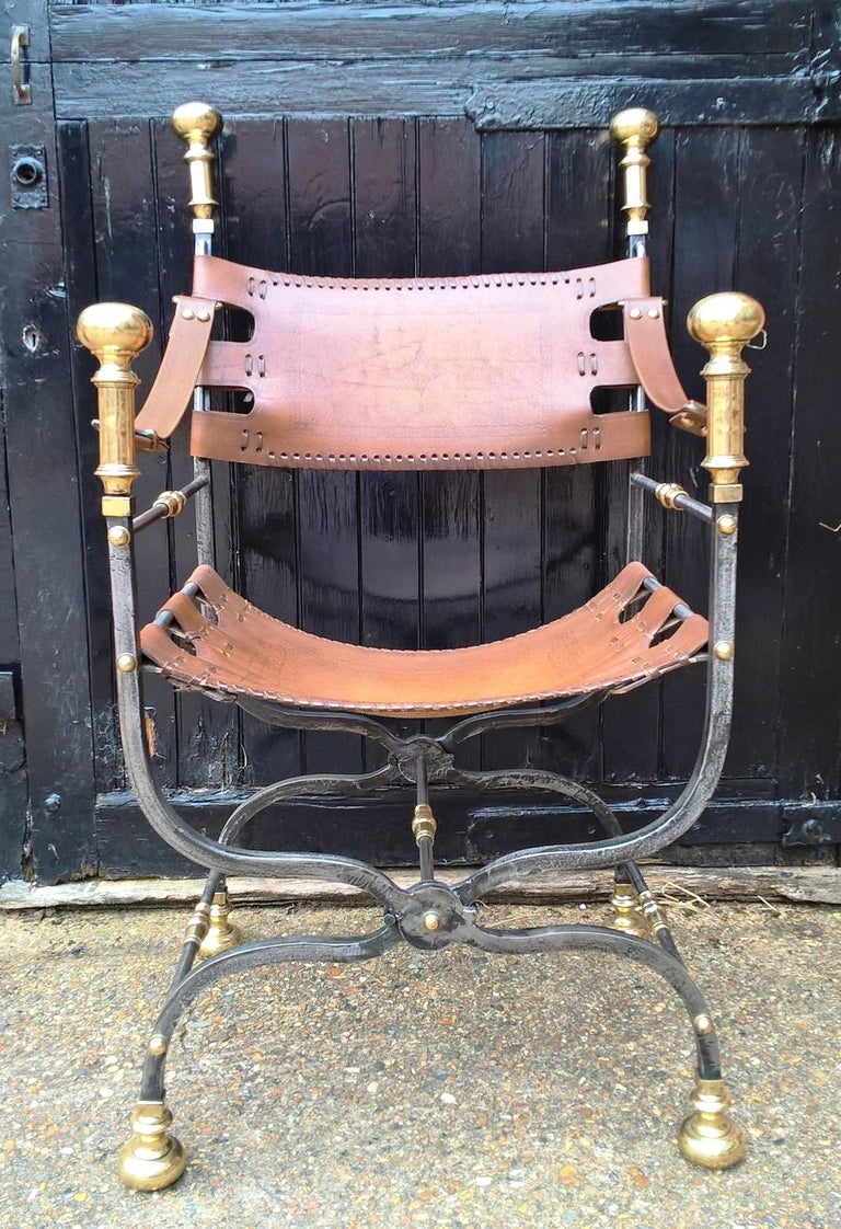Pair of Italian Metal, Brass and Leather Armchairs In Good Condition For Sale In Hemel Hempstead, Hertfordshire