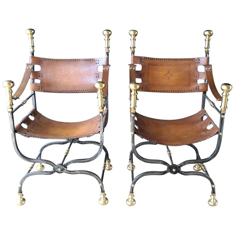 Pair of Italian Metal, Brass and Leather Armchairs For Sale