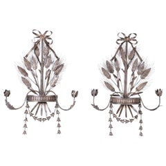 Pair of Italian Metal Wall Sconces with Cattails and Leaves