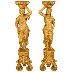 Pair of Italian Mid-17th Century Baroque Period Figural Torchière Pedestals