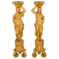 Pair of Italian Mid-17th Century Baroque Period Figural Torchière Pedestals