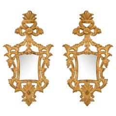 Pair of Italian Mid-18th Century Baroque Style Giltwood Mirrors