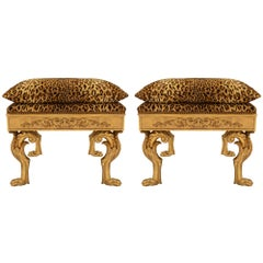 Pair of Italian Mid-18th Century Louis XIV Period Giltwood Benches