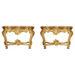 Pair of Italian Mid-18th Century Louis XV Period Giltwood Consoles
