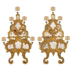 Pair of Italian Mid-18th Century, Mirrored Giltwood Baroque Sconces