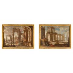 Pair of Italian Mid-18th Century Old Master Oil on Canvas Paintings of Ruins