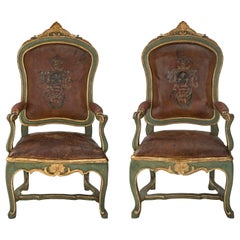 Pair of Italian Mid-18th Century Roman Armchairs