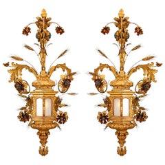 Pair of Italian Mid-18th Century Venetian Gilt Metal and Giltwood Sconces