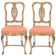 Pair of Italian Mid-18th Century Venetian St. Hand Painted Chairs
