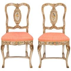 Pair of Italian Mid-18th Century Venetian St. Hand Painted Chairs