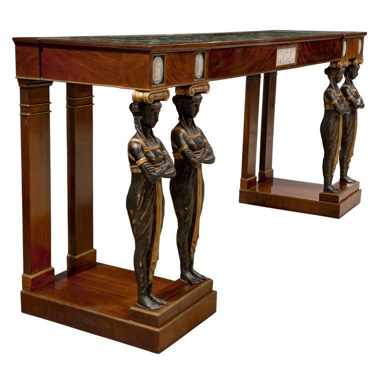 Pair of Italian Mid-19th Century Empire Style Mahogany Consoles from Naples In Excellent Condition For Sale In West Palm Beach, FL