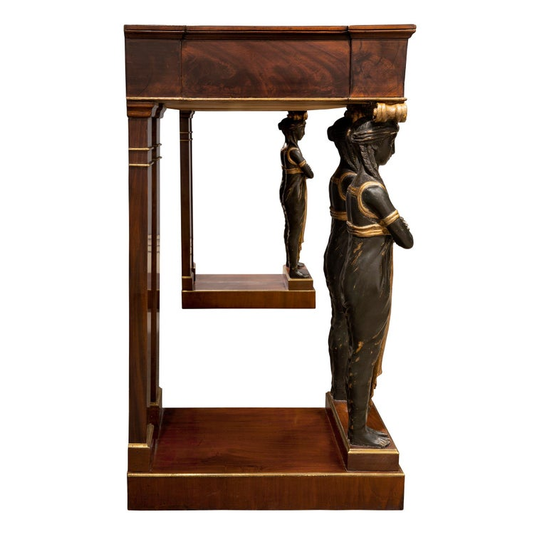 Brass Pair of Italian Mid-19th Century Empire Style Mahogany Consoles from Naples For Sale