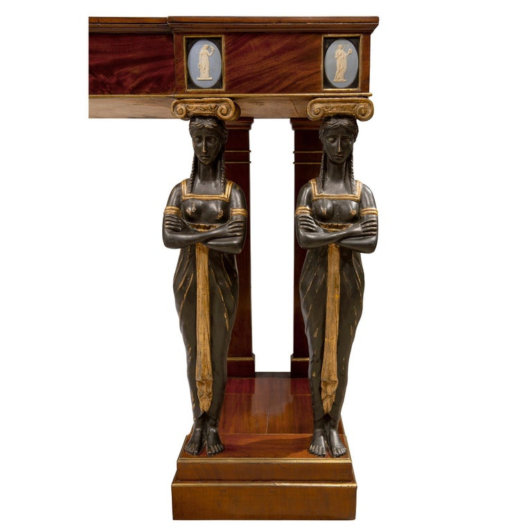 Pair of Italian Mid-19th Century Empire Style Mahogany Consoles from Naples For Sale 4