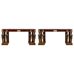 Pair of Italian Mid-19th Century Empire Style Mahogany Consoles from Naples