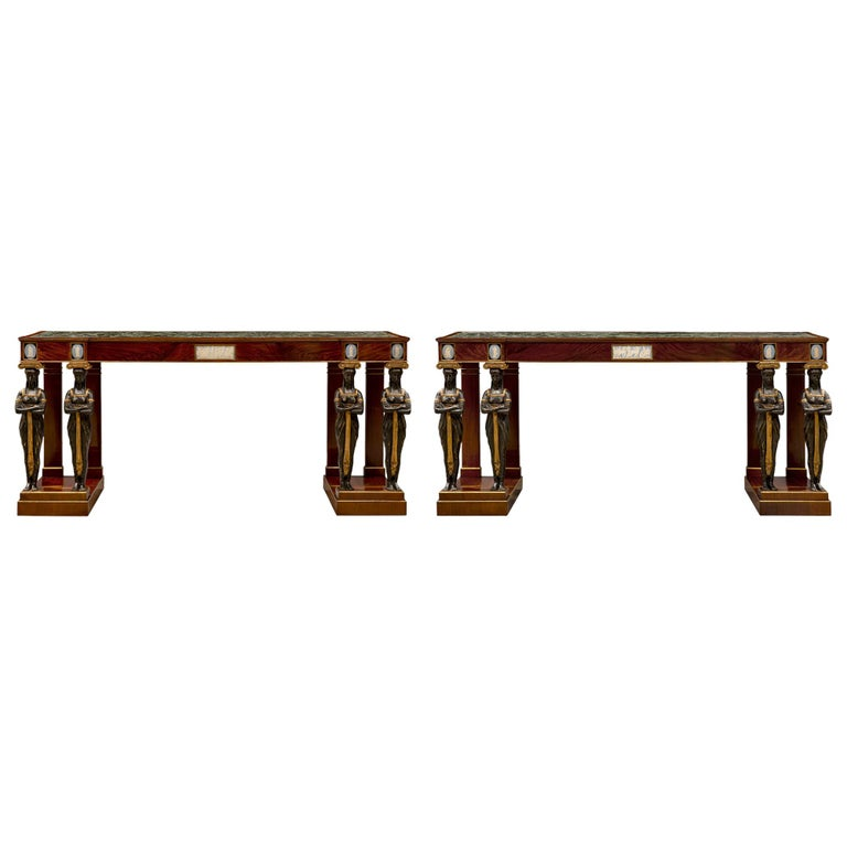 Pair of Italian Mid-19th Century Empire Style Mahogany Consoles from Naples For Sale